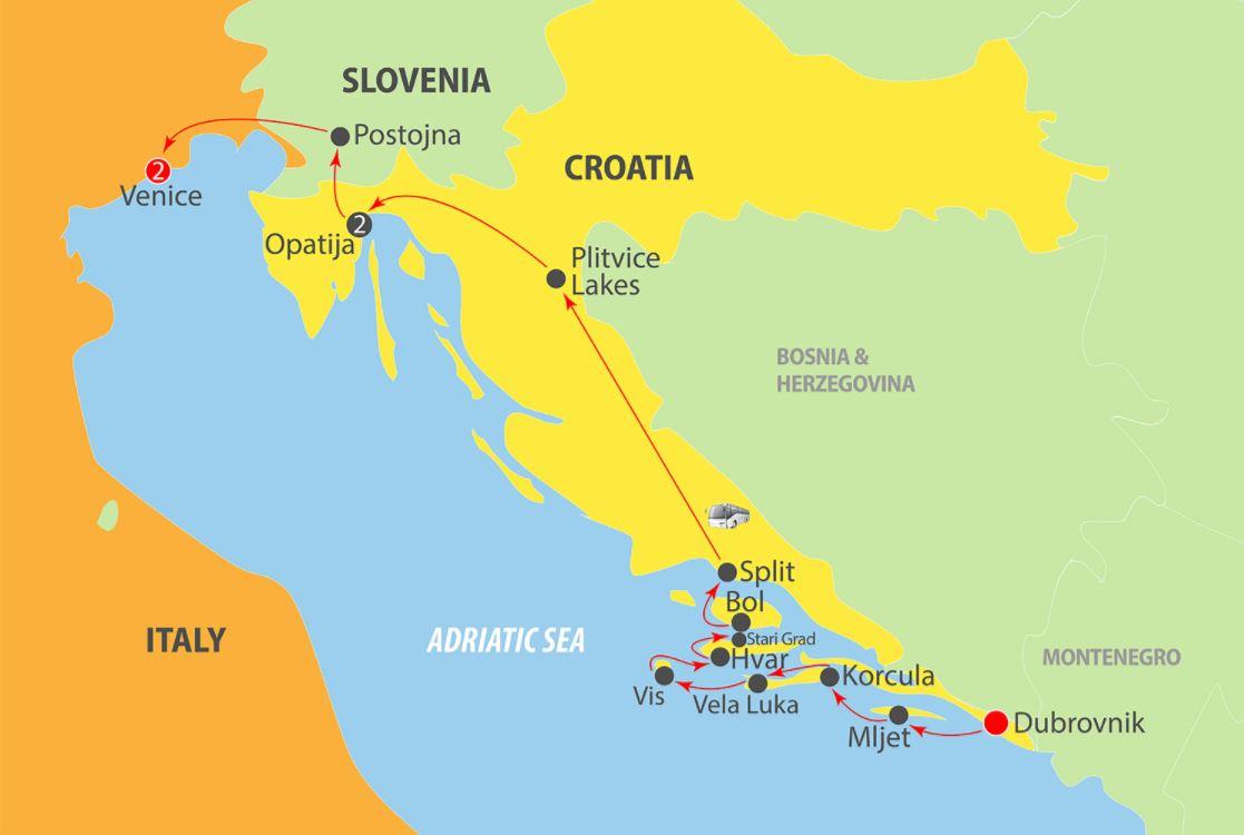 Map for Dubrovnik to Venice in Luxury via Split