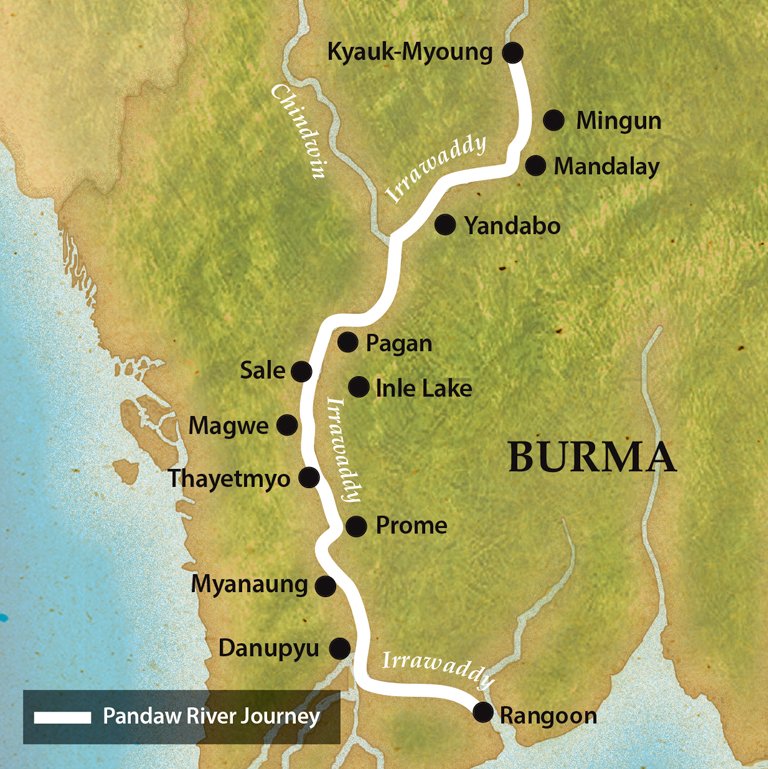 Map for The Irrawaddy: 14 Nights, 600 Miles and See All Burma
