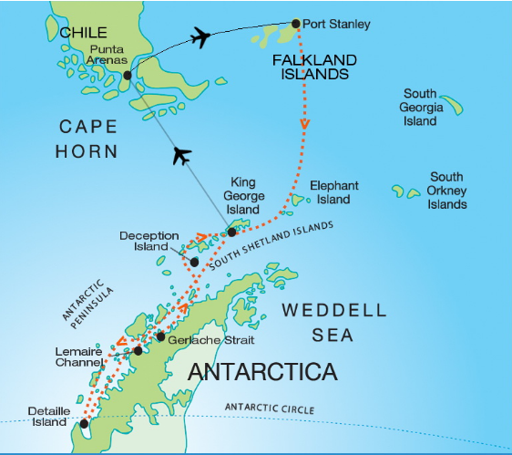 Map for Quest for the Antarctic Circle (Akademik Vavilov)