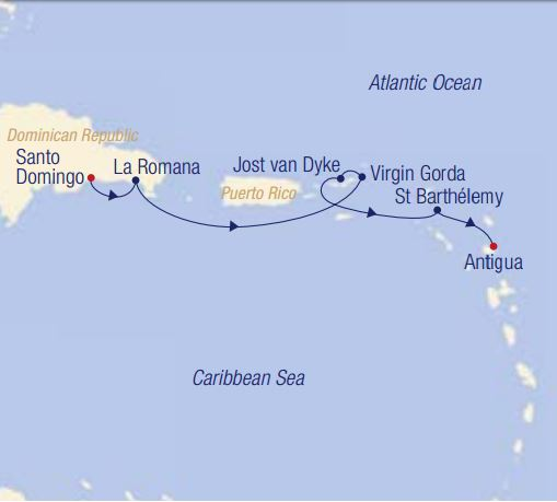 Map for Lesser Antilles & the British Virgin Islands