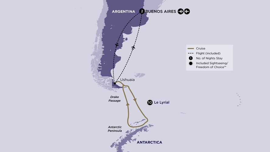 Map for Classic Antarctica from Buenos Aires