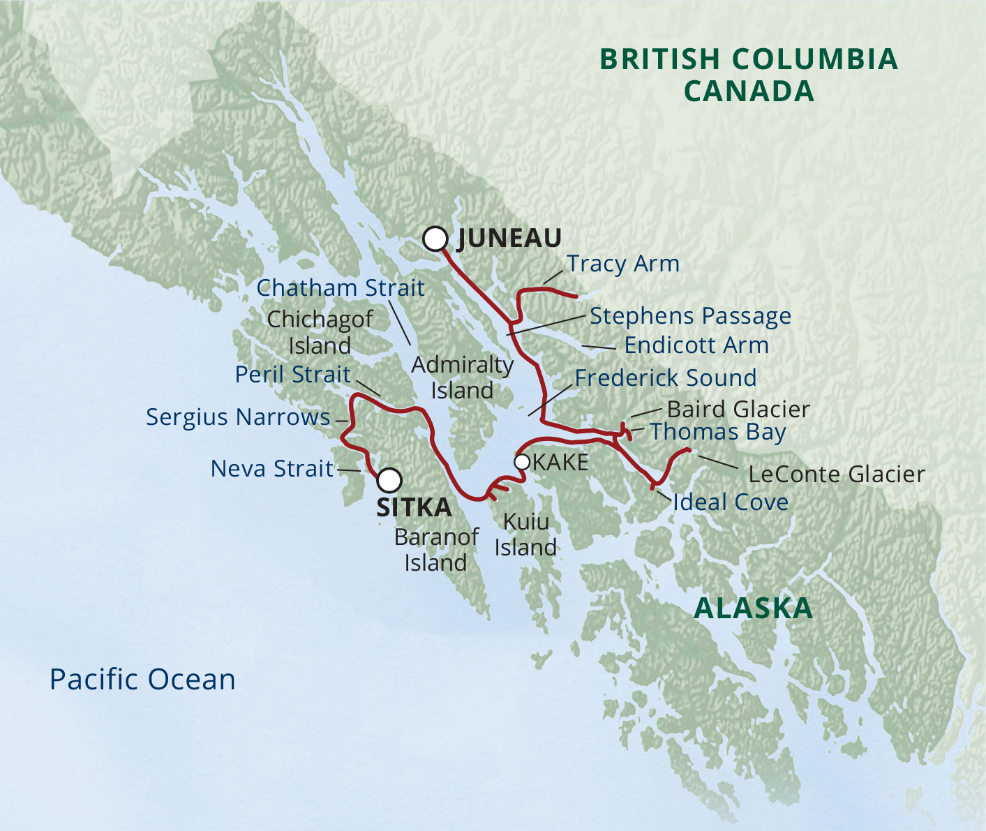 Map for Alaska's Glaciers & Whales (S.S. Legacy)
