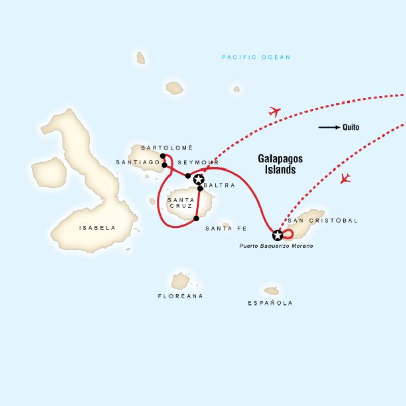 Map for Galápagos Land & Sea — Central Islands