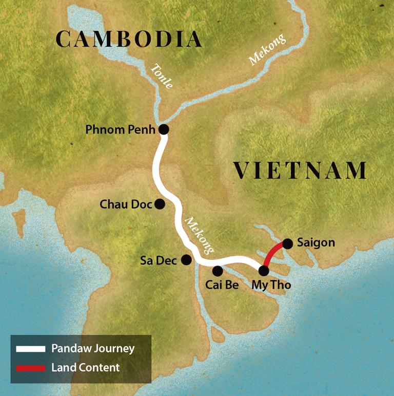 Map for Saigon & Phnom Penh - Upstream (Tonle Pandaw)