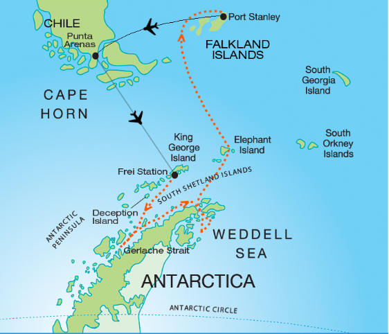 Map for Antarctica, Weddell Sea & Falklands Cruise