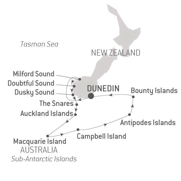 Map for Macquarie and the New Zealand Subantarctic Islands Expedition
