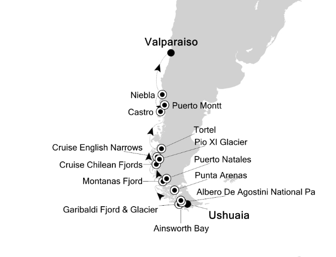 Map for Chilean Fjords