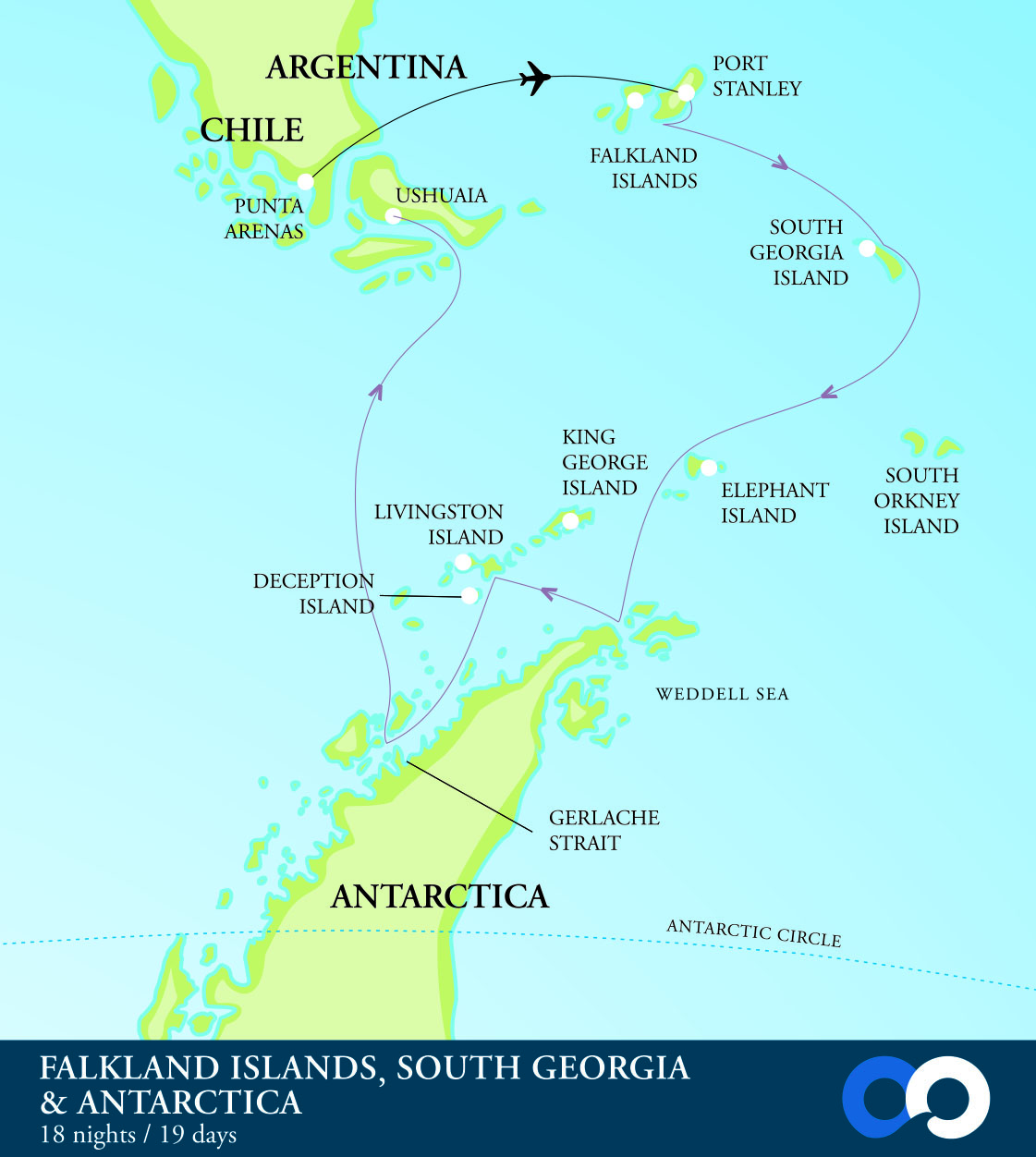 Map for South Georgia & Antarctica Fly One Way Cruise