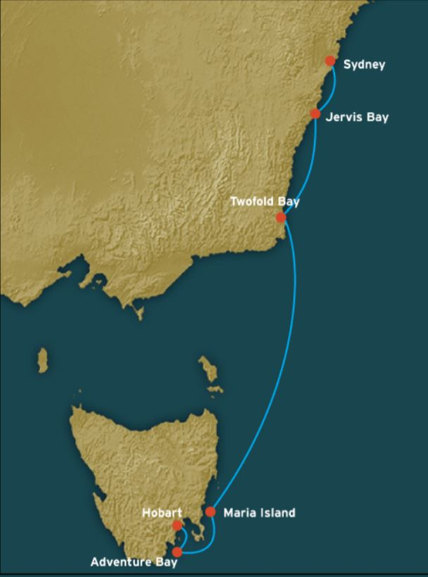 Map for A Yachtsman's Cruise: Sydney to Hobart