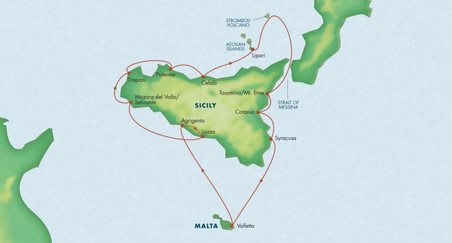 Map for Circumnavigation of Sicily