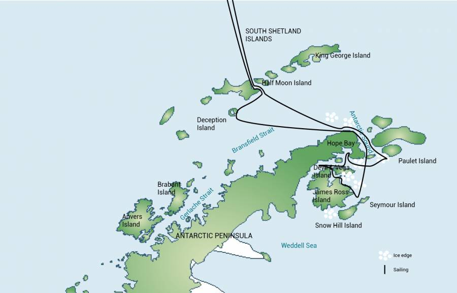 Map for Weddell Sea - Antarctic Discoverer
