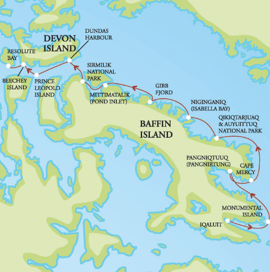 Map for Baffin Island Cruise