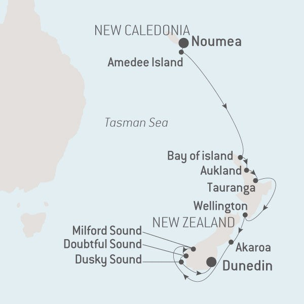 Map for From New Caledonia to New Zealand