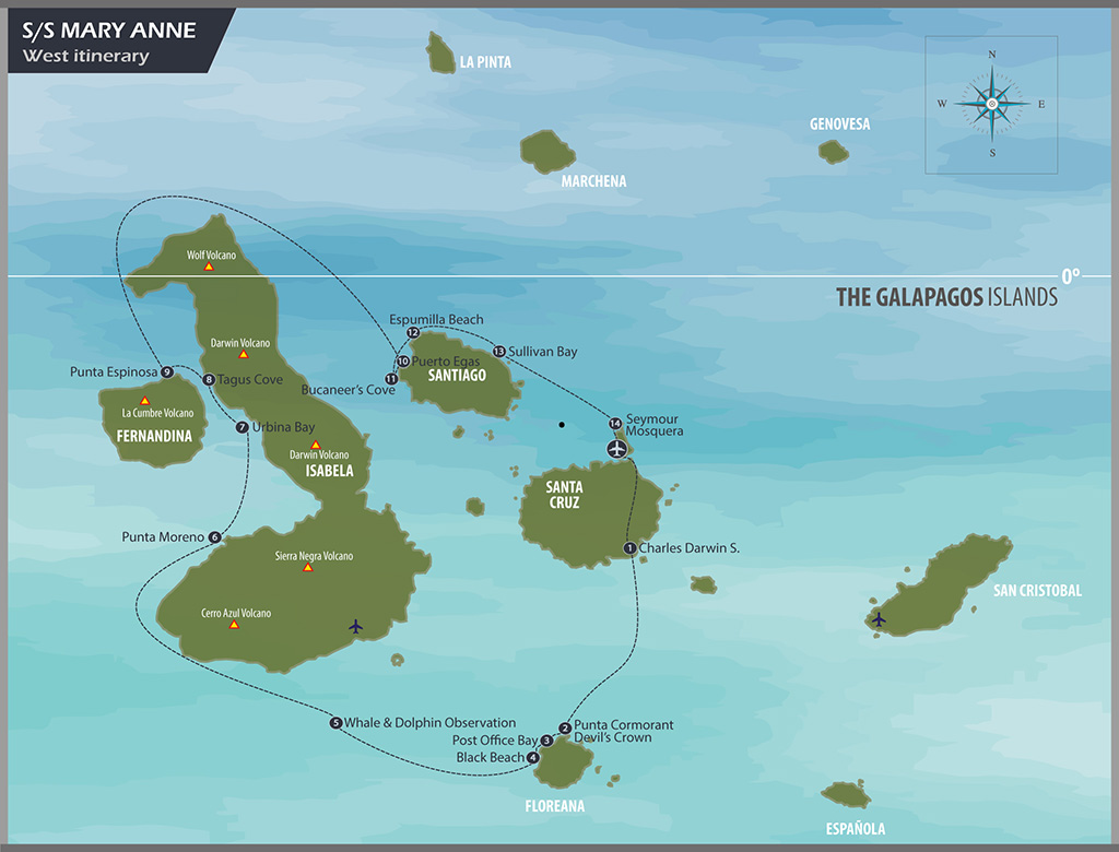 Map for Sailing Western Islands of Galapagos