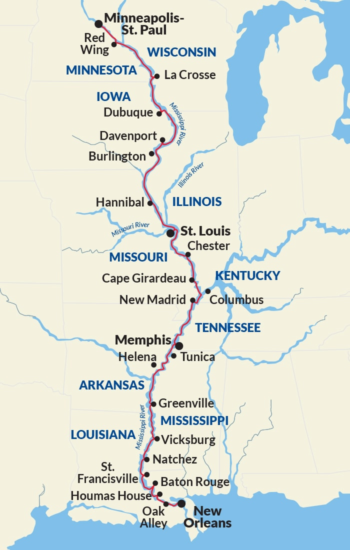 Map for Complete Mississippi River Cruise