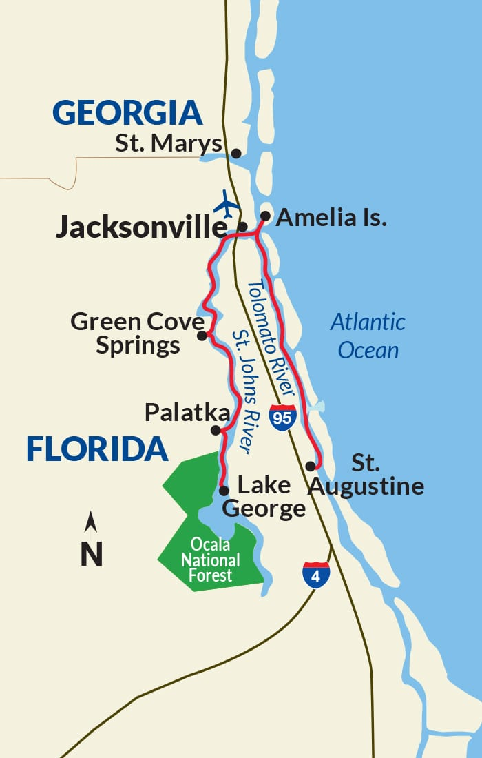 Map for Great Rivers of Florida Cruise