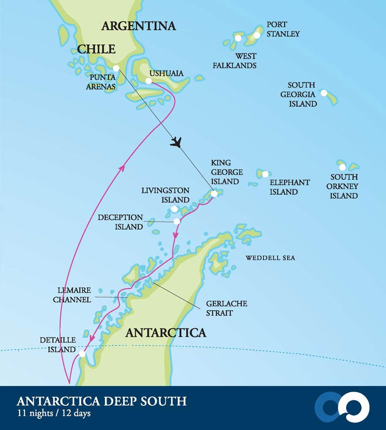 Map for Antarctica - Deep South