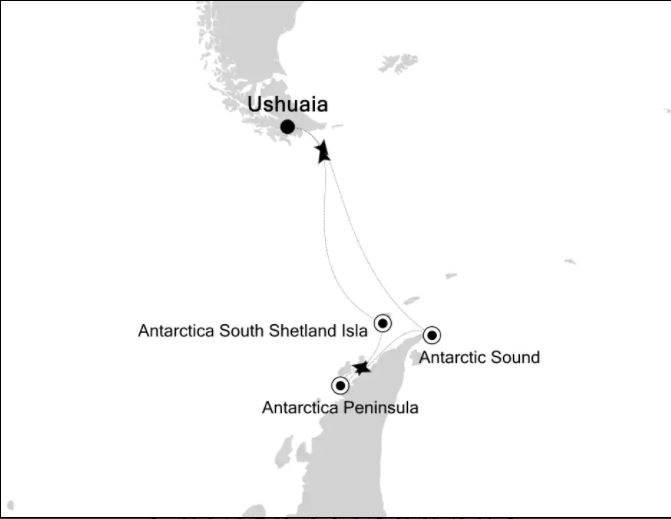 Map for Across the Antarctic Circle (Silver Explorer)