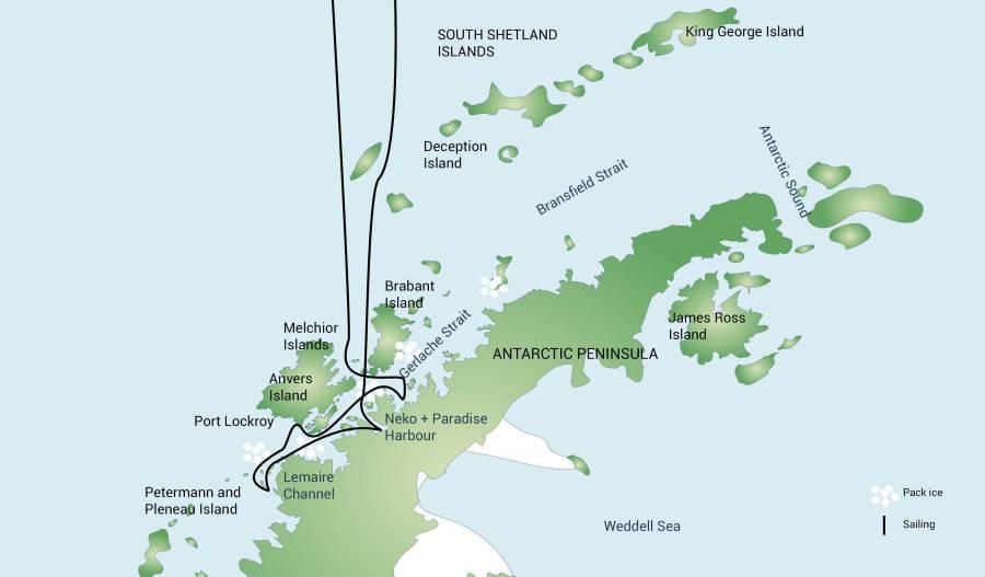 Map for Antarctic Peninsula (Plancius)