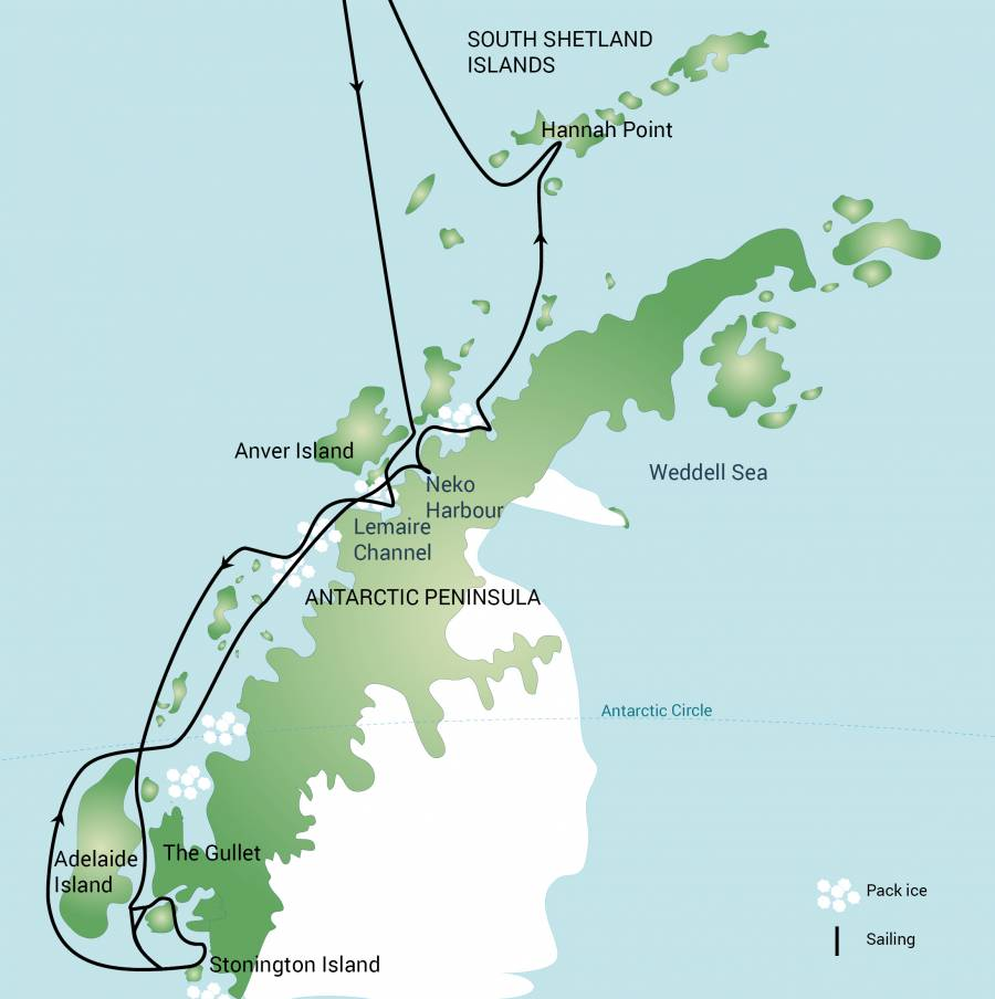 Map for Polar Circle, Deep South Discovery & Whale Watching Voyage