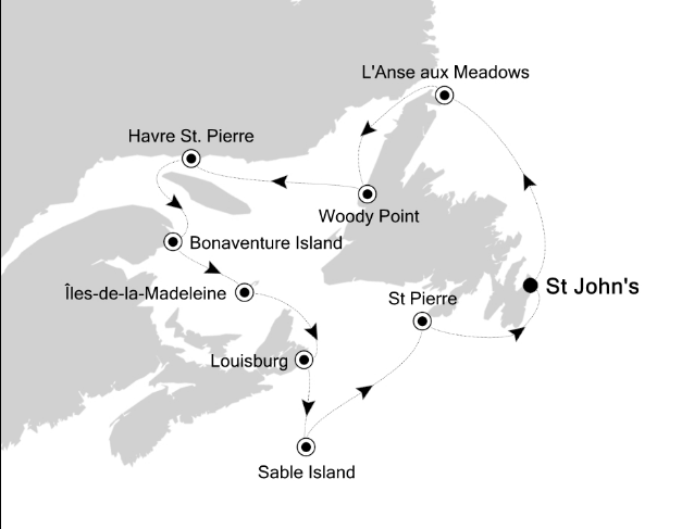 Map for Voyage Around the Gulf of St. Lawrence