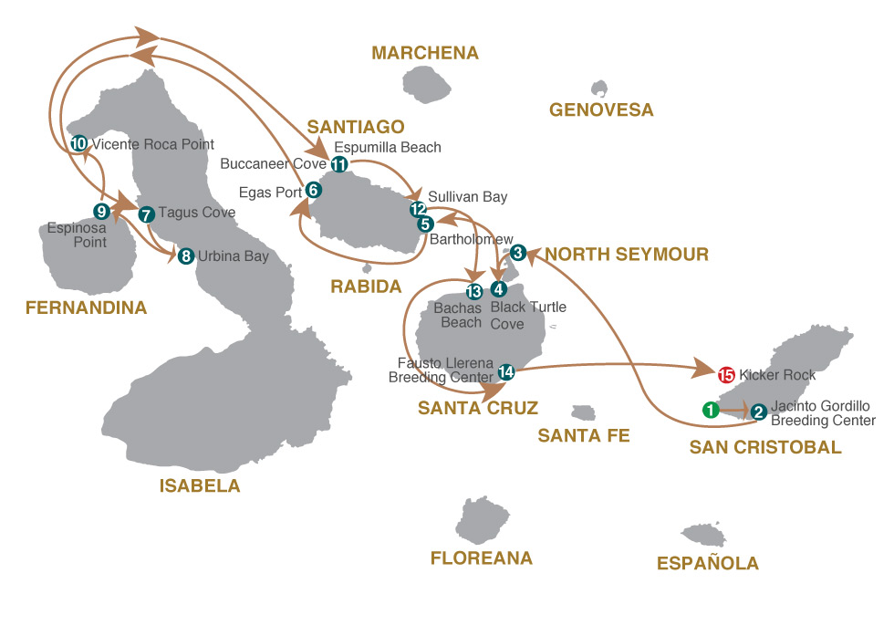 Map for Galapagos Cruise - 8 Days B (Grand Majestic)