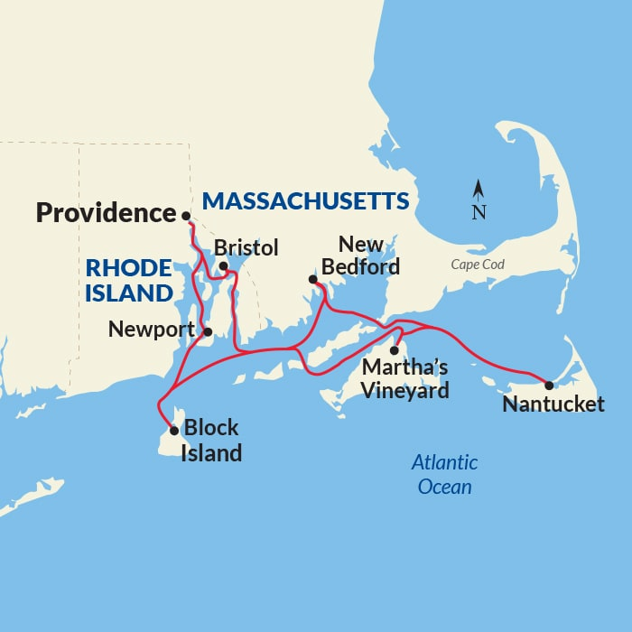 Map for New England Islands Voyage