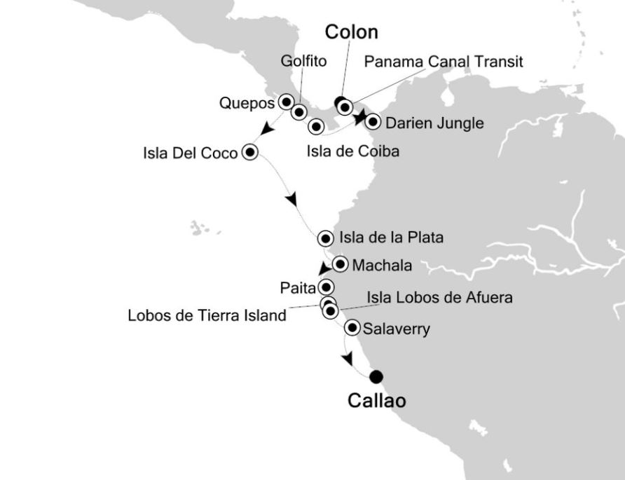 Map for Along the Coast of Costa Rica and Ecuador