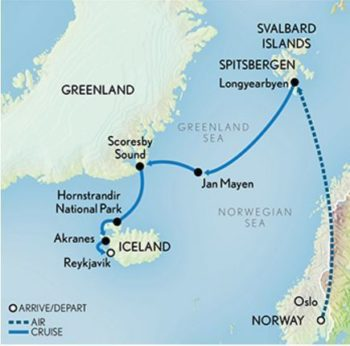 Map for Arctic Adventure: Norway, Greenland & Iceland