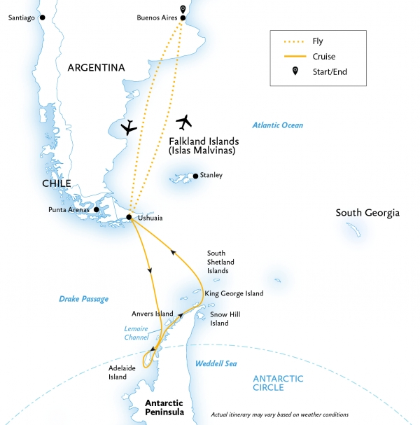 Map for Crossing the Circle: Southern Expedition