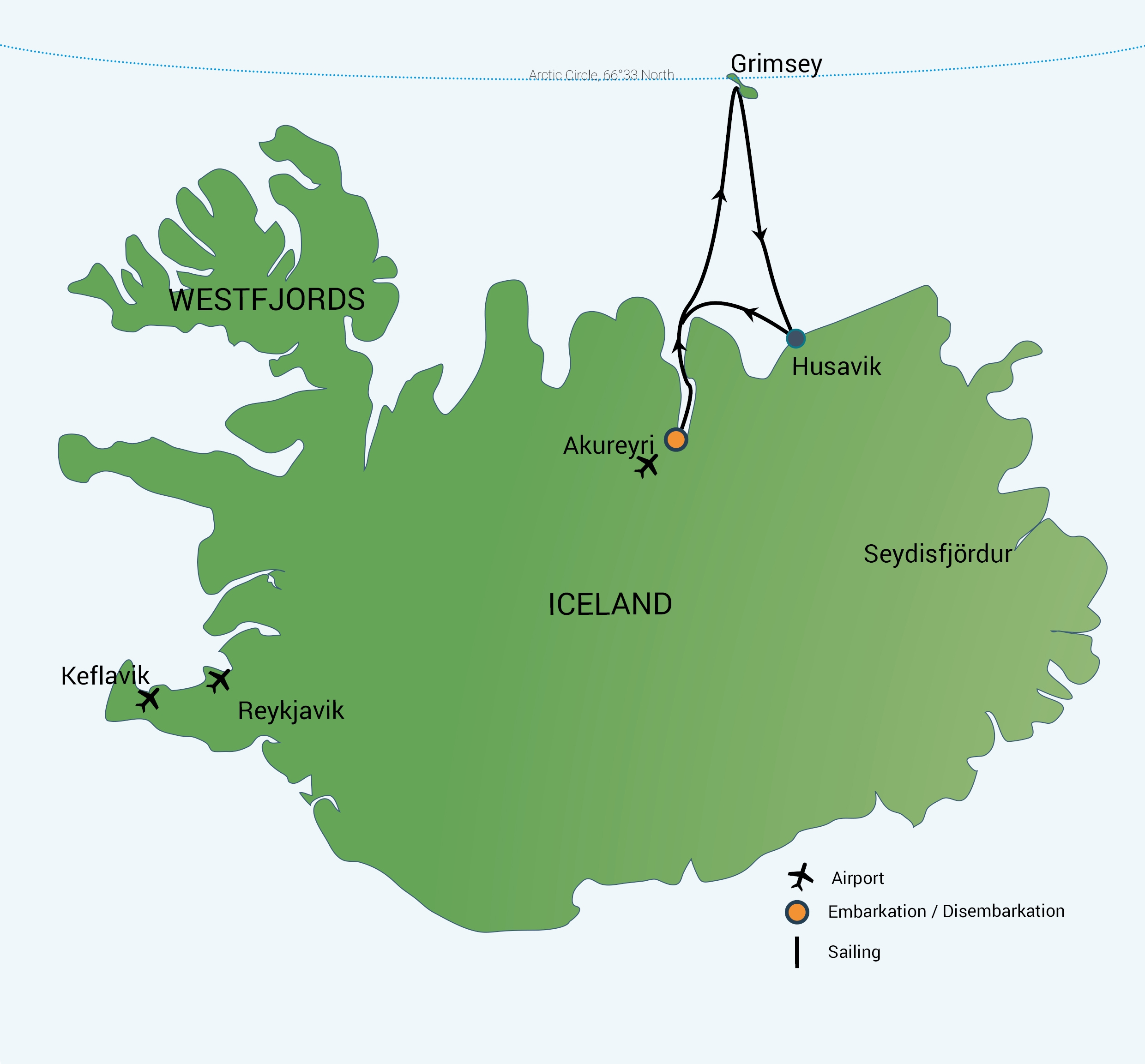 Map for North Iceland - Arctic Circle & Whales, Aurora Borealis