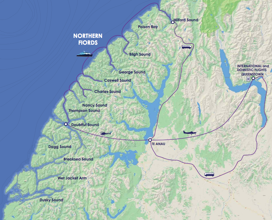 Map for Fiordland National Park - Northern Fjords
