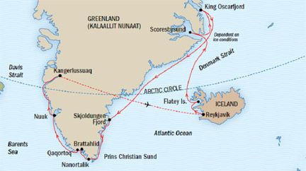 Map for Viking Legends and Wild Fjords Adventure Cruise