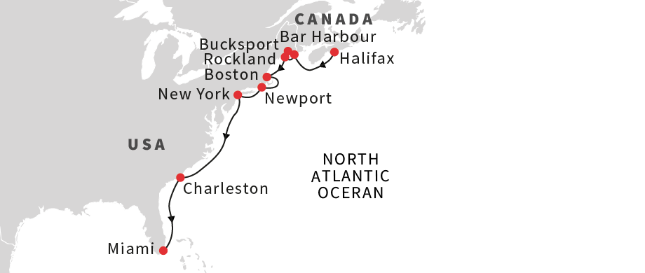 Map for Coastal Gems of America - Southbound