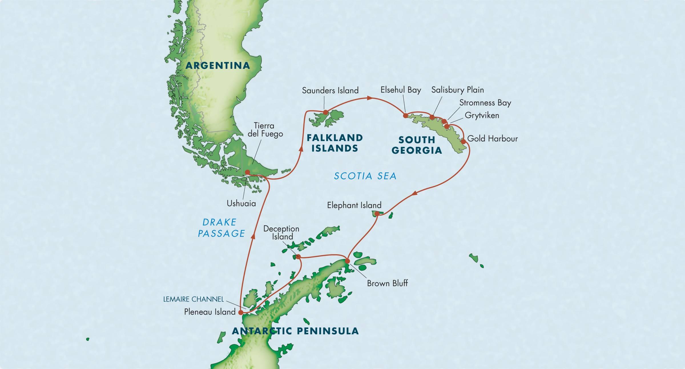 Map for Antarctica, South Georgia & the Falkland Islands