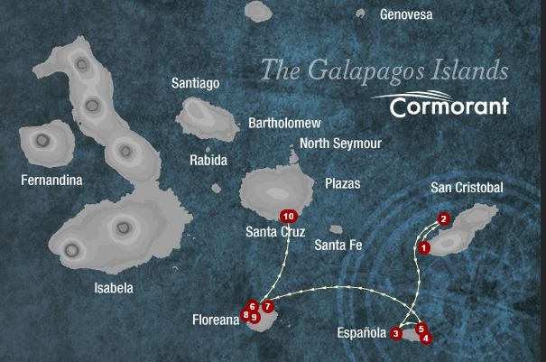 Map for Southern Galapagos 4 Days (Cormorant)