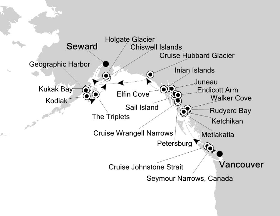 Map for Sailing the Inside Passage