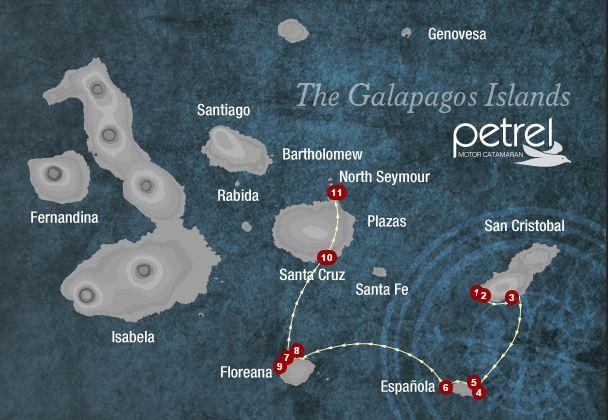 Map for San Cristobal, Espanola & Floreana 4 days (Petrel)