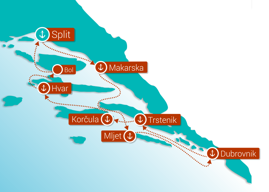 Map for Southern Croatia from Split - Premium cruise