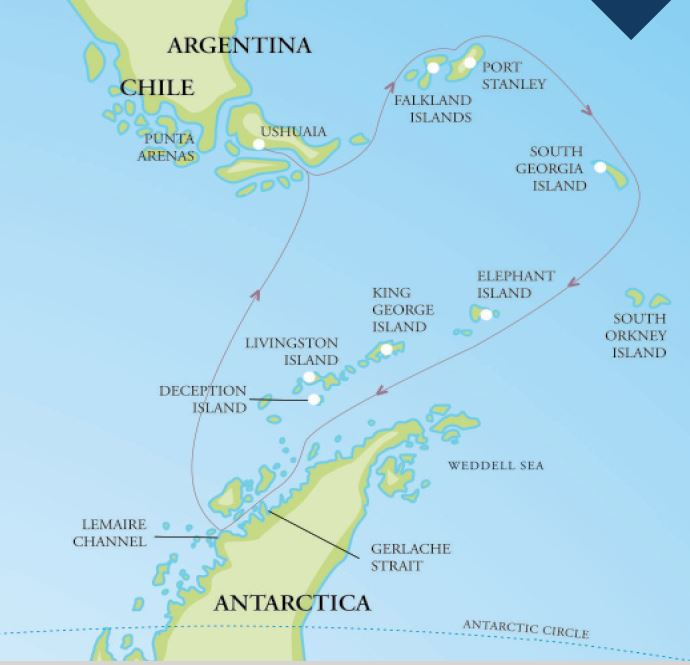 Map for Falklands, South Georgia & Antarctica 2018/19 (Resolute)