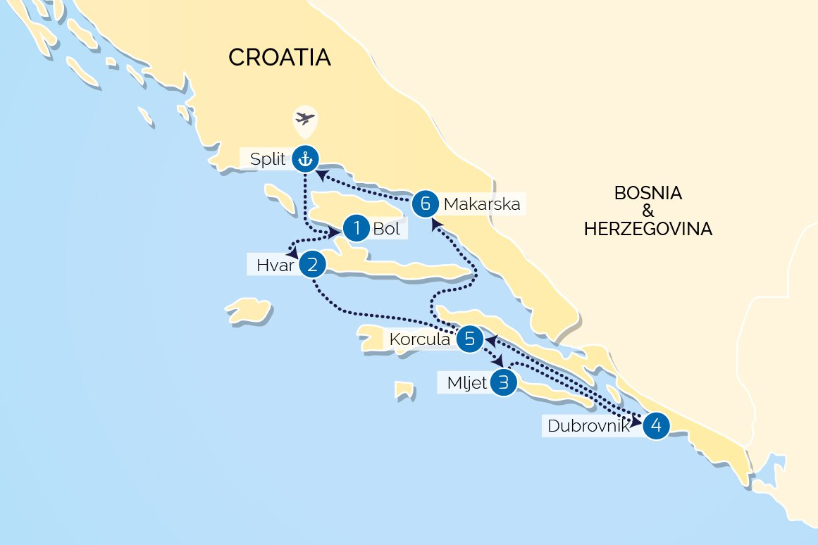 Map for Croatia Luxury Cruise South: from Split to Split