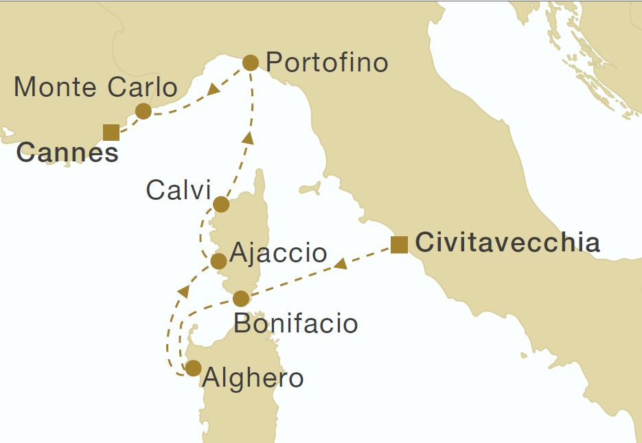 Map for Rome to Cannes (Royal Clipper)