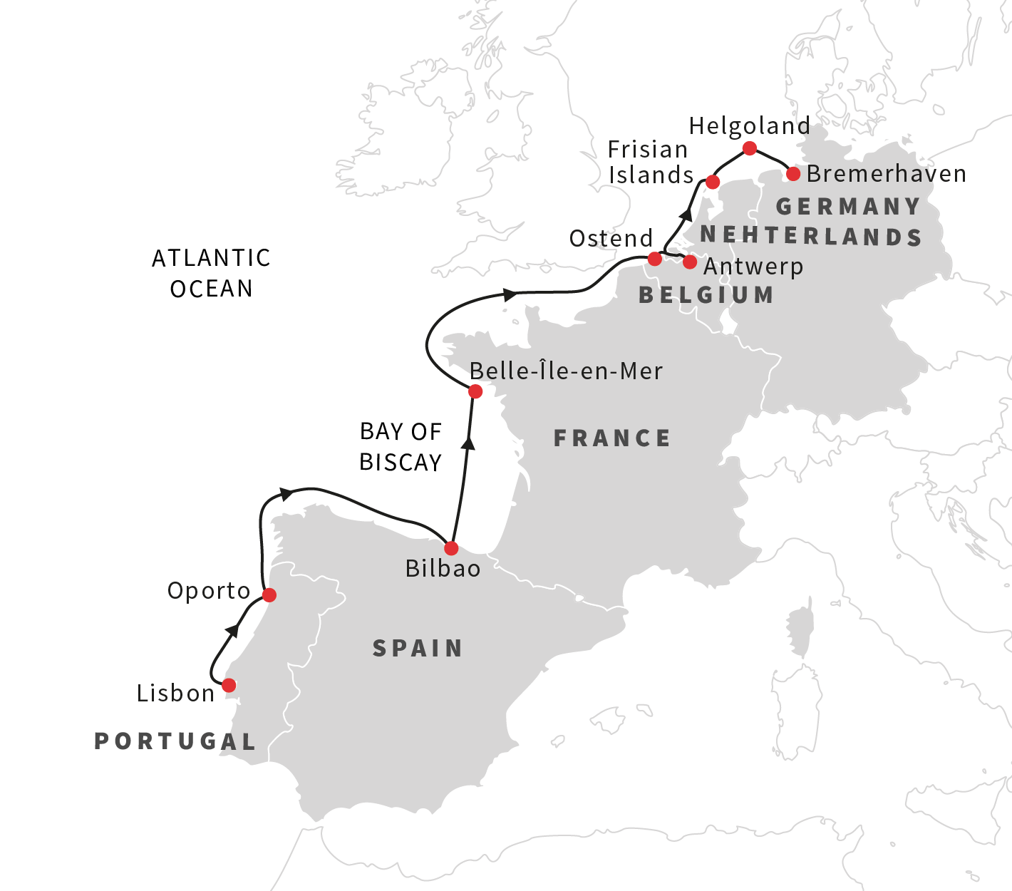 Map for Navigating the Bays and Islands of Western Europe