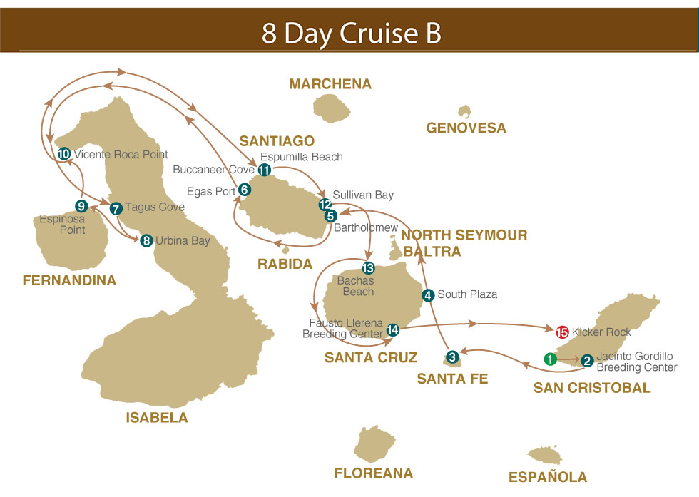 Map for Galapagos 8 days B (Majestic)