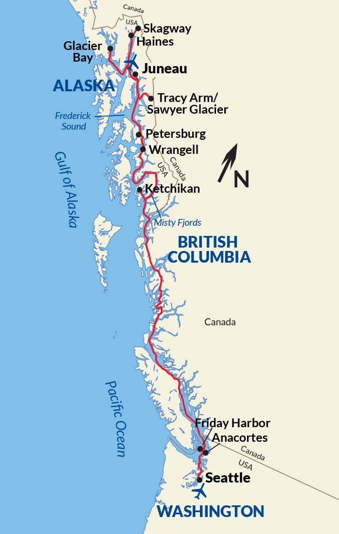 Map for Alaska Inside Passage Cruise (American Constellation)