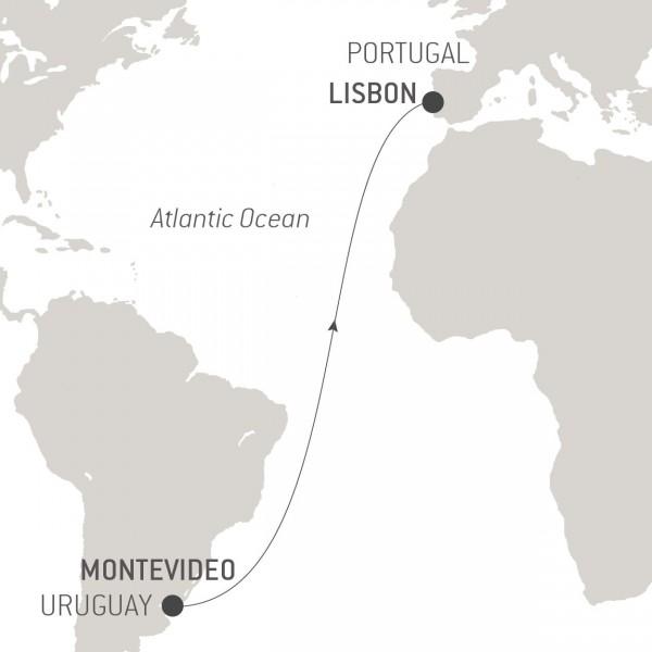 Map for Ocean Voyage: Montevideo – Lisbon