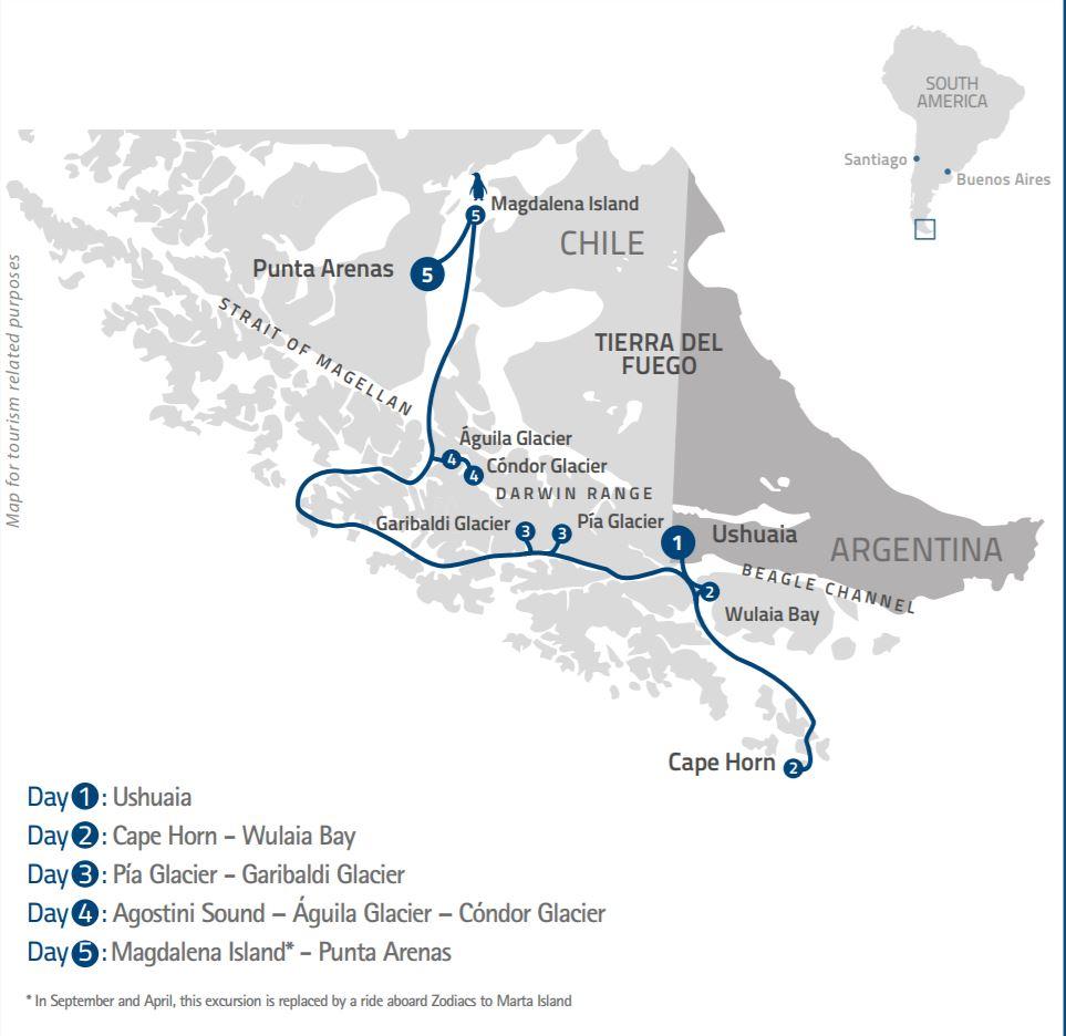 Map for Patagonian Explorer (Stella Australis)