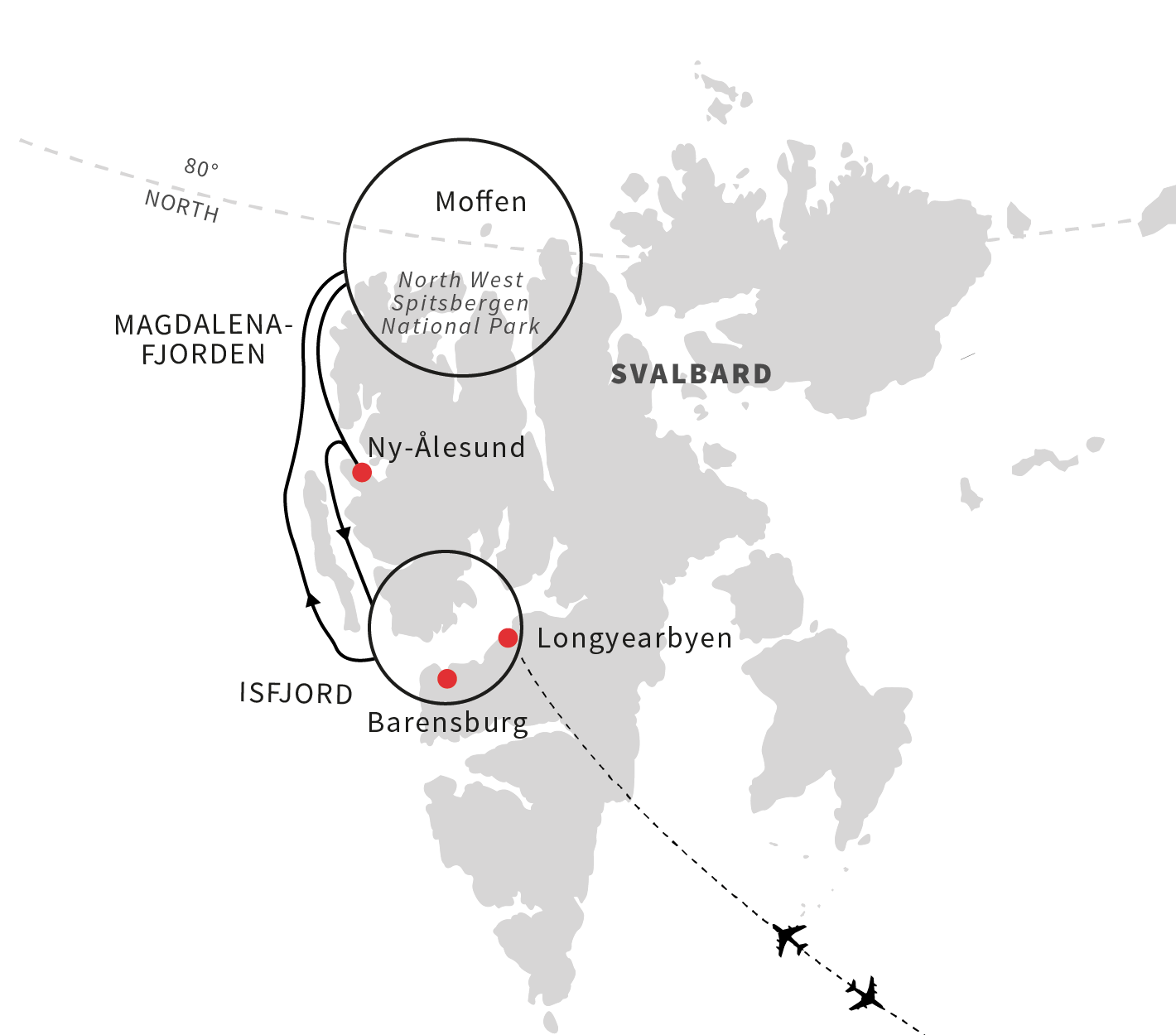 Map for Spitsbergen and Polar Bears - An Arctic Adventure (A)