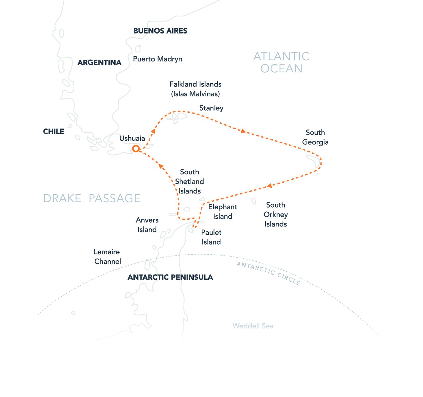 Map for Falklands, South Georgia & Antarctica Via Ushuaia