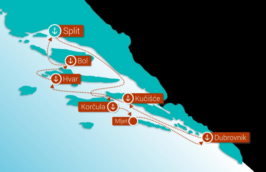 Map for Croatian Islands Luxury cruise